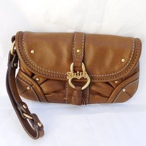 JUICY COUTURE TAN LEATHER WRISTLET